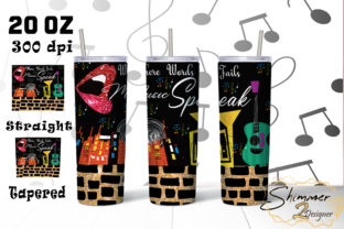 Print on Demand: Speak Music Tumbler Sublimation Glitter Gráfico Plantillas para Impresión Por shimmer2designer