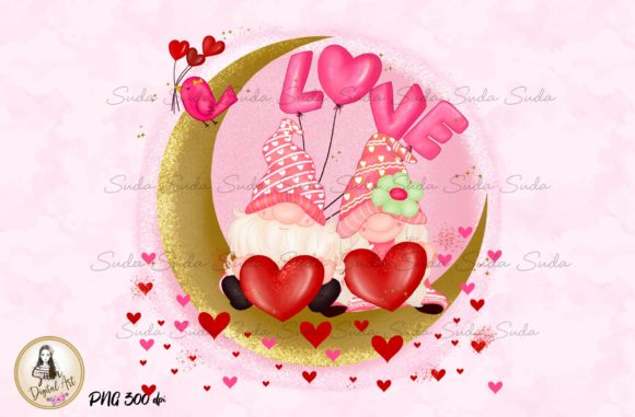 Print on Demand: The Moon Valentine's Day Sublimation Graphic Illustrations By Suda Digital Art