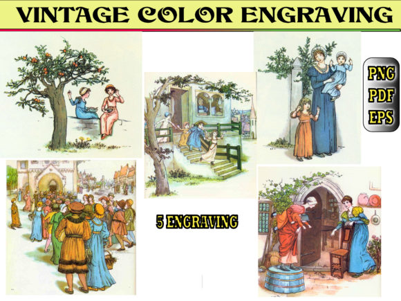 Print on Demand: VINTAGE COLOR ENGRAVING DRAWING Graphic Illustrations By kdp Edition