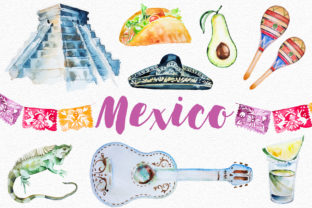 Watercolor Mexico Clipart Set Graphic Illustrations By artcreationsdesign