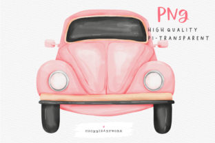 Print on Demand: Watercolor Pink Vintage Car Graphic Crafts By Chonnieartwork