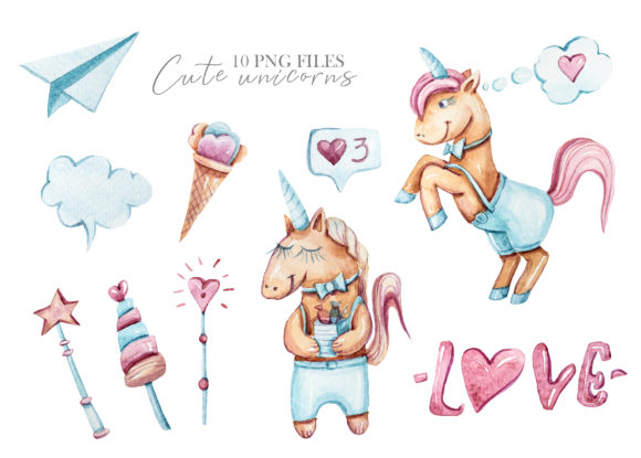 Print on Demand: Watercolor Valentine Day Unicorn Clipart Graphic Illustrations By Tiana Geo