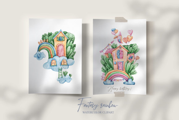 Print on Demand: Watercolor Baby Shower Rainbow Clipart Graphic Illustrations By Tiana Geo
