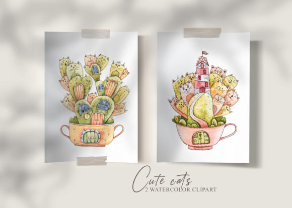 Print on Demand: Watercolor Cats Clipart. Nursery Set Graphic Illustrations By Tiana Geo
