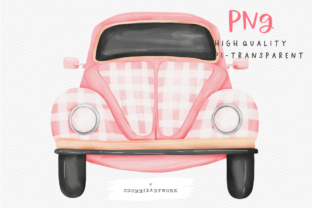 Print on Demand: Watercolor Pink Car Graphic Crafts By Chonnieartwork