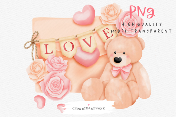 Print on Demand: Watercolor Teddy Bear Love Letter Graphic Crafts By Chonnieartwork