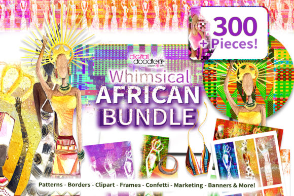 Print on Demand: Whimsical Watercolor African Bundle Graphic Illustrations By Digital Doodlers