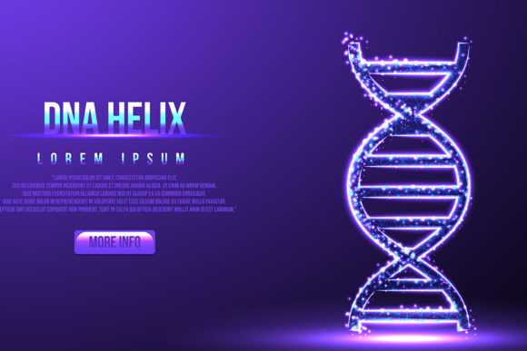 Print on Demand: Dna, Helix Molecule, Low Poly Wireframe, Graphic Backgrounds By ojosujono96