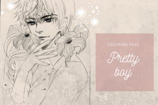 Print on Demand: Pretty Boy Manga Coloring Page Gráfico Ilustraciones Por meisanmui