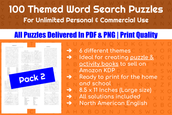 100 Themed Word Search Puzzles - Pack 2 Graphic Crafts By Take It And Teach