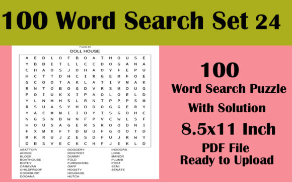 100 Word Search 8.5x11 Puzzle KDP Vol 24 Graphic KDP Interiors By Seven Elephant