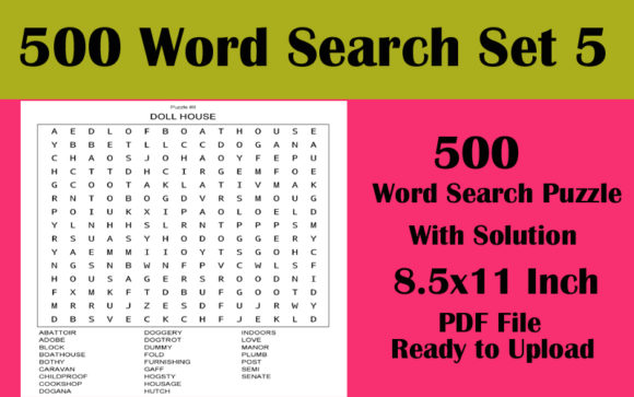 8.5x11 500 Word Search Puzzle KDP Vol 5 Graphic KDP Interiors By Seven Elephant