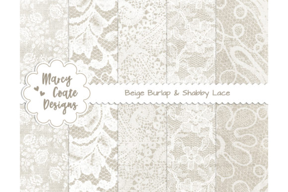 Beige Burlap and Lace Digital Papers Graphic Backgrounds By MarcyCoateDesigns