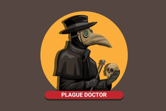 Print on Demand: Black Death Plague Doctor Wear Bird Mask Graphic Illustrations By aryo.hadi