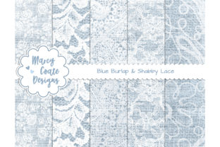 Blue Burlap and Lace Digital Papers Graphic Backgrounds By MarcyCoateDesigns