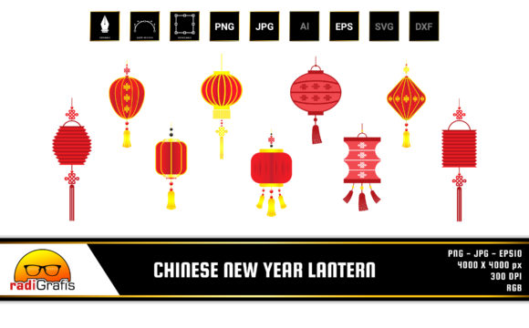 Chinese New Year Lantern Set Pack Graphic Illustrations By radigrafis