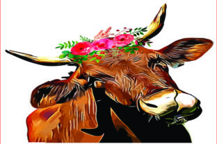 Cow Floral Graphic Crafts By AlaBala