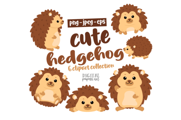 Print on Demand: Cute Hedgehog Clipart Set Graphic Illustrations By DigitalPapers