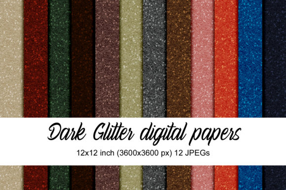 Print on Demand: Dark Glitter Digital Papers Graphic Textures By Andrea Kostelic
