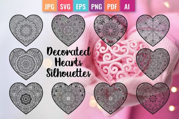 Decorated Hearts Silhouettes, Valentines Graphic Coloring Pages & Books By DoodleBox
