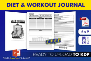 Print on Demand: Diet and  Workout Journal | KDP Interior Graphic KDP Interiors By Beast Designer