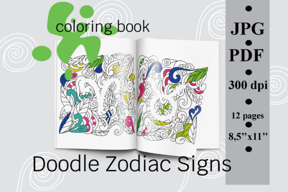 Doodle Zodiac Signs Coloring Book Graphic Coloring Pages & Books Adults By SunnyColoring