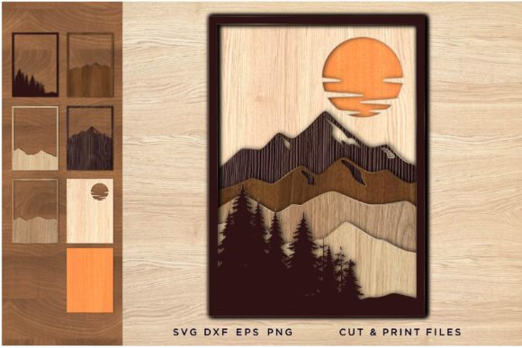 Laser Cut Files, Layered Landscape 3d Graphic 3D SVG By 2dooart