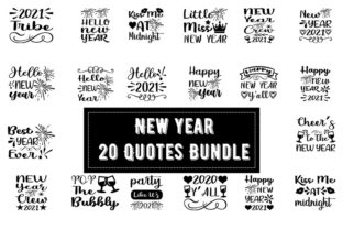 Print on Demand: New Year 20 Quotes Bundle Grafik Druck-Templates von Design_store
