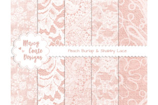 Peach Burlap and Lace Digital Papers Graphic Backgrounds By MarcyCoateDesigns