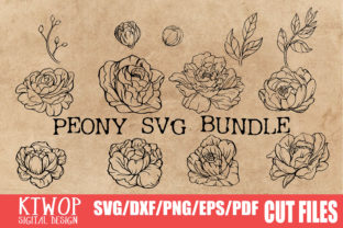 Print on Demand: Peony Handdraw SVG Bundle Graphic Crafts By KtwoP