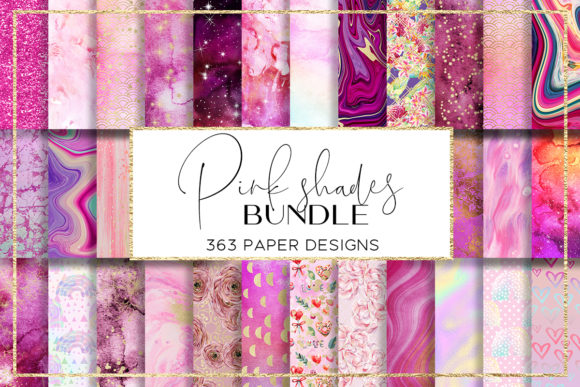 Print on Demand: Pink Shades BUNDLE Digital Paper Pack Graphic Patterns By beracaink