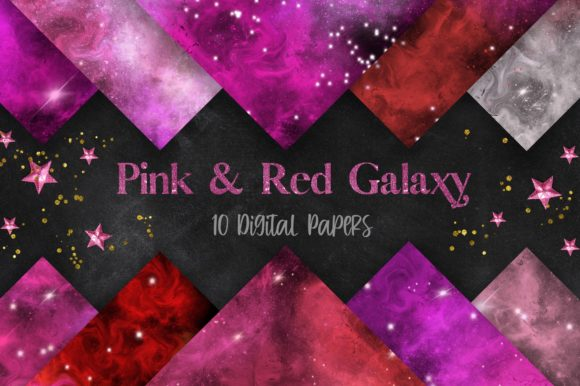 Pink and Red Galaxy Space Background Graphic Backgrounds By PinkPearly