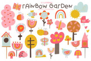 Print on Demand: Rainbow Garden Clipart Set Gráfico Ilustraciones Por poppymoondesign