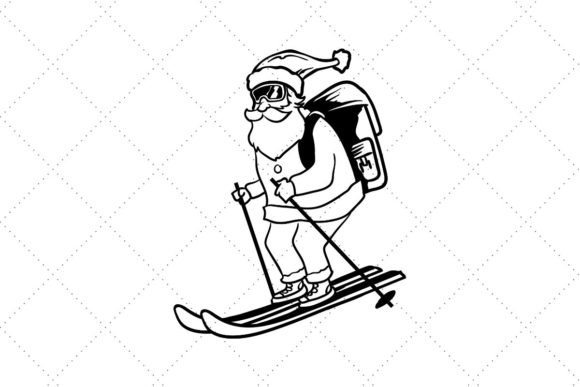 Santa Skiing Graphic Crafts By Creative Divine