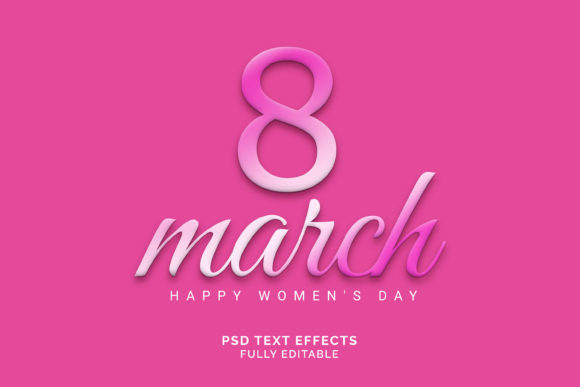 Text Effect - Women Day 3d Text Effect Graphic Graphic Templates By VectorRiver