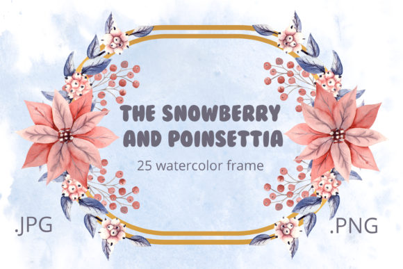 Print on Demand: The Snowberry and Poinsettia. Watercolor Graphic Illustrations By Natika_art