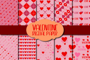 Print on Demand: Valentine Digital Paper II Graphic Patterns By Mahesa Design
