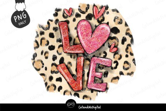 Valentine Leopard with Glitter PNG Graphic Illustrations By CatAndMe