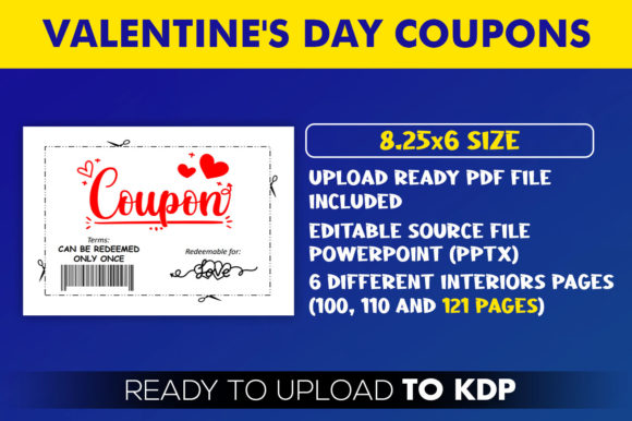 Valentine's Day Coupon Book KDP Interior Graphic Download