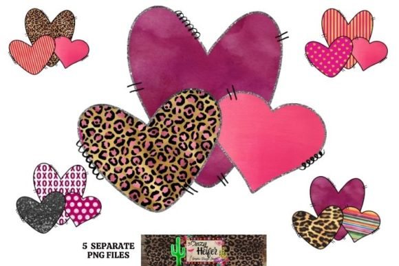 Print on Demand: Valentine's Day Heart Bundle Dye Sub Grafik Illustrationen von Crazy Heifer Design Shoppe