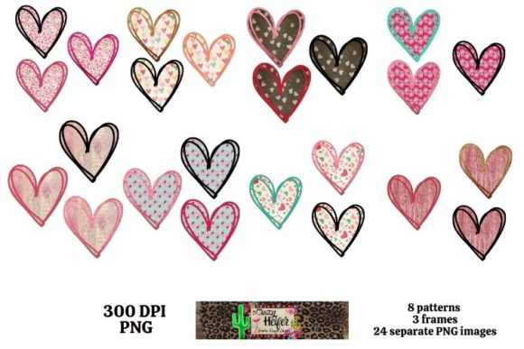 Print on Demand: Valentine's Day Heart Doodle Dye Sub Graphic Objects By Crazy Heifer Design Shoppe