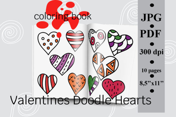 Valentines Doodle Hearts Coloring Book Graphic Coloring Pages & Books Adults By SunnyColoring