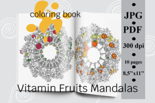 Vitamin Fruits Mandalas Coloring Book Graphic Coloring Pages & Books Adults By SunnyColoring