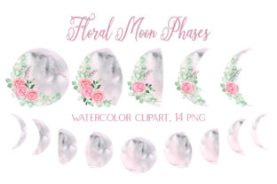 Watercolor Floral Moon Phases Clipart Graphic Illustrations By outlander1746