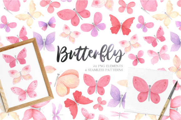 Watercolor Pink Butterfly Clipart Graphic Illustrations By Larysa Zabrotskaya