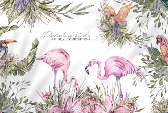 Print on Demand: Watercolor Floral Tropical Birds Clipart Graphic Illustrations By Tiana Geo