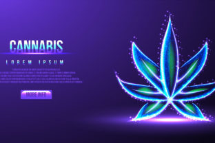 Print on Demand: Cannabis Low Poly Wireframe Vector Illus Graphic Backgrounds By WANGSINAWANG