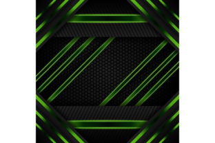 Print on Demand: Green Black Geometric Background Graphic Backgrounds By noory.shopper