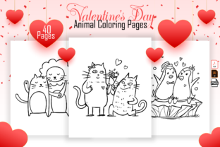Print on Demand: Valentine's Day Animal Coloring Book Graphic Coloring Pages & Books Kids By MK DESIGN