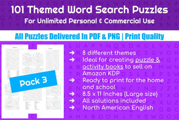 101 Themed Word Search Puzzles | Pack 3 Graphic Crafts By Take It And Teach